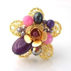 Brass Wire Works Blossoming Rose Purple Amethyst Free Size Ring (Thailand)