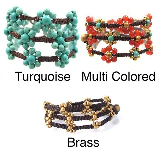 Triple Wrap Daisy Link Floral Cotton Rope Bracelet (Thailand)