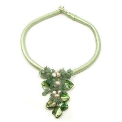 Green Puma Satin Natural Beauty Aventurine Nuggets-Shells Necklace (Thailand)