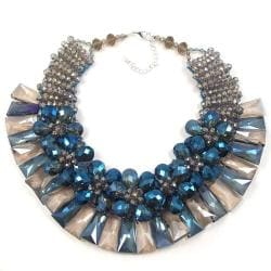 Luxurious Floral Blue Delight Crystal Necklace (Thailand)