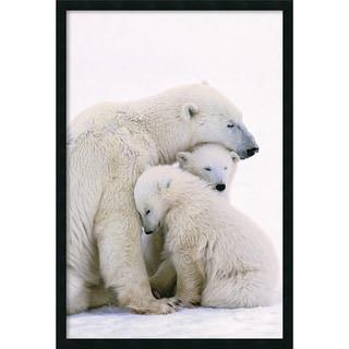 Polar Bear Family' Framed Art Print with Gel Coated Finish