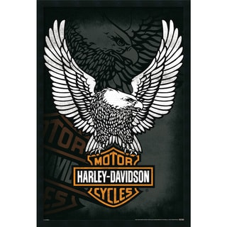 Harley Davidson Eagle Gel-textured Art Print