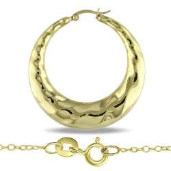 Miadora 18k Yellow Gold Overlay Crescent Earring and Necklace Set