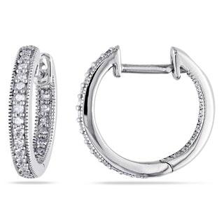 Miadora 14k White Gold 1/4ct TDW Diamond Hoop Earrings (H-I, I1-I2)