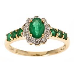 D'Yach 10k Yellow Gold Zambian Emerald and 1/10ct TDW Diamond Ring (G-H, I1-I2)