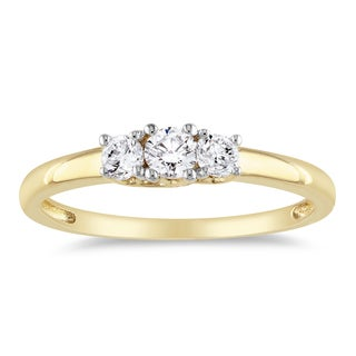 Miadora 14k Yellow Gold 1/4ct TDW 3-Stone Diamond Ring (G-H, SI1-SI2) with Bonus Earrings