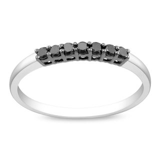 Haylee Jewels Sterling Silver Prong-set Black Diamond Ring