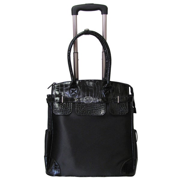 Amerileather Deluxe Skylar Large Women's 17-inch Rolling Tote with Laptop Compartment