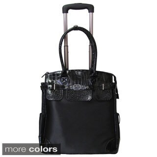 Amerileather Deluxe Skylar Women's 17-inch Rolling Tote with Laptop Compartment