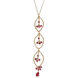 14k gold filled 3-Tier Marquis Rubies Necklace
