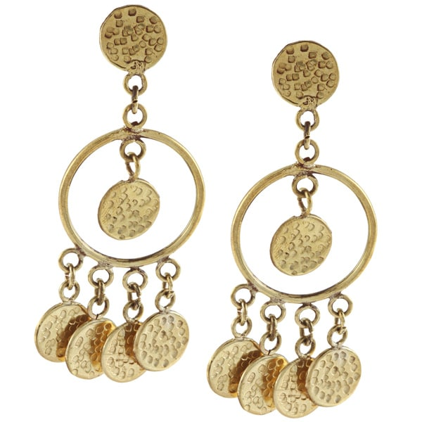Hammered 'Multi Circle' Brass Dangle Earrings (Nepal)