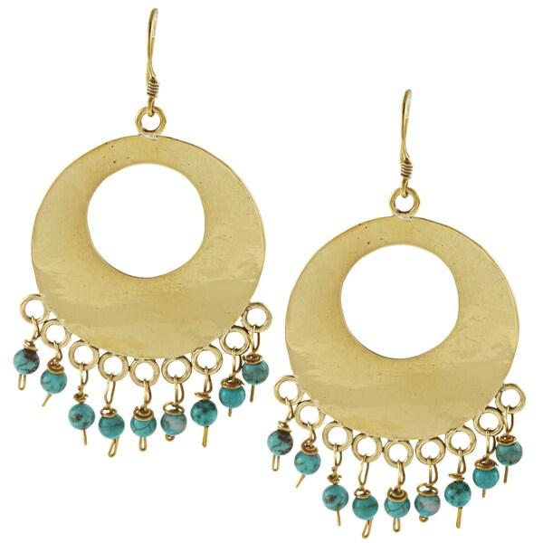 Brass 'Moon' High Polish Hoop Earrings (Nepal)