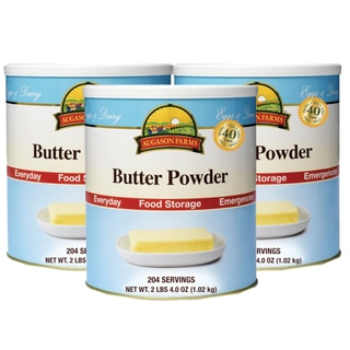 Pack of Three Cans of Augason Farms Sealed Natural Butter Powder