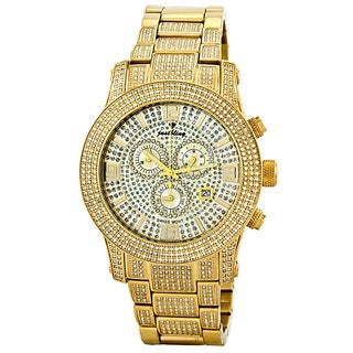 JBW Men's Lynx 6ct Diamond 18k Gold Plated Stainless Steel Watch
