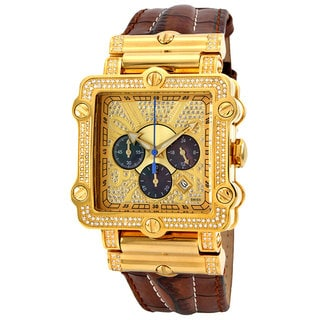 JBW Men's 'Phantom' Brown Diamond and Gold Bezel Watch
