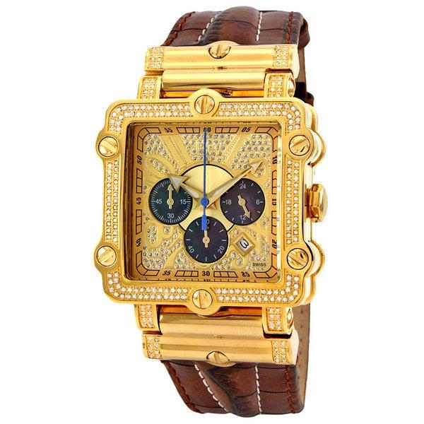 JBW Men's 'Phantom' Brown Diamond and Gold Bezel Watch