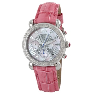 JBW Women's 'Victory' Stainless Steel Pink Leather Strap Diamond Watch