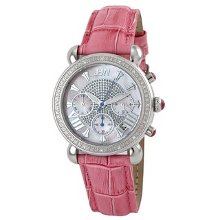 JBW Women's Stainless Steel Pink Leather Strap Diamond Watch