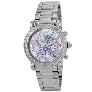 JBW Women's 'Victory' Stainless Steel Diamond Pink Dial Watch