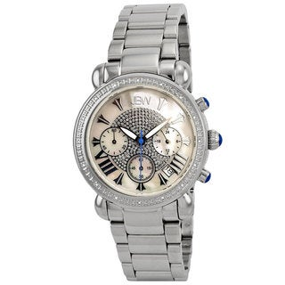 JBW Women's 'Victory' Stainless Steel Mother of Pearl Dial Diamond Watch
