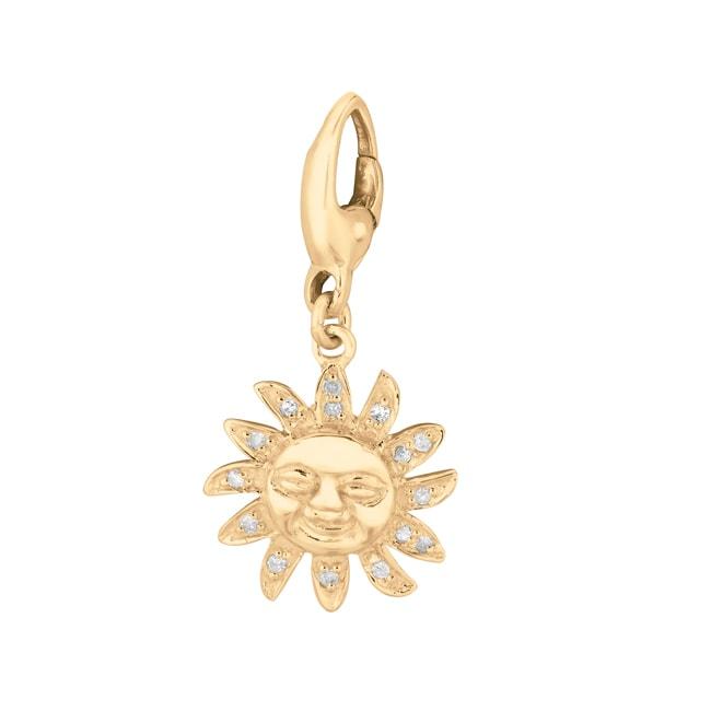 Gold over Silver 1/10ct TDW Diamond Sun Charm (H-I, I1-I2)