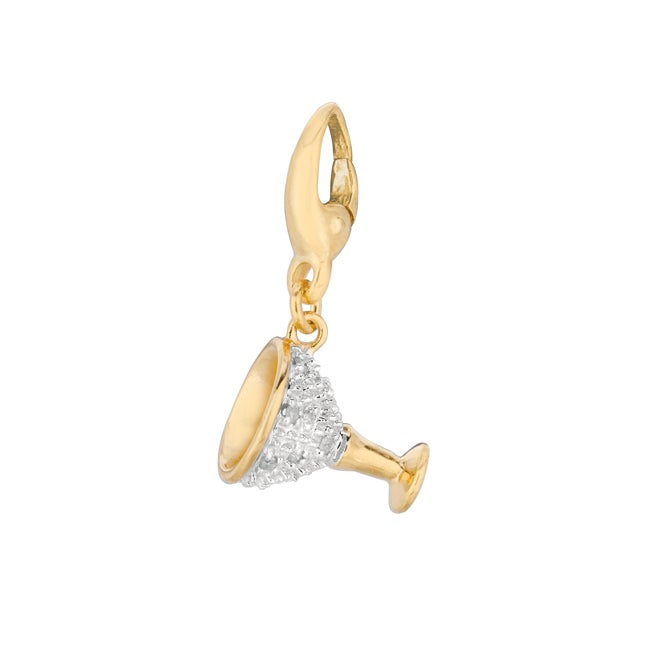 Gold over Silver 1/10ct TDW Diamond Wine Cup Charm (H-I, I1-I2)