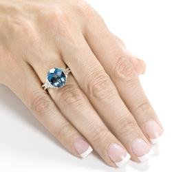 Annello 14k White Gold London Blue Topaz and 7/8ct TDW Diamond Ring (G-H, VS1-VS2)