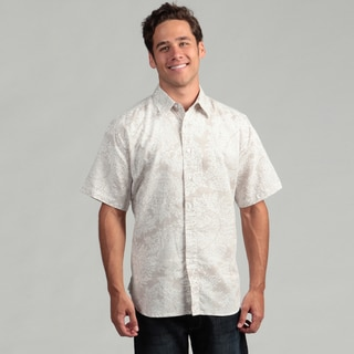 Natural Blue Men's Khaki Linen Paisley Shirt
