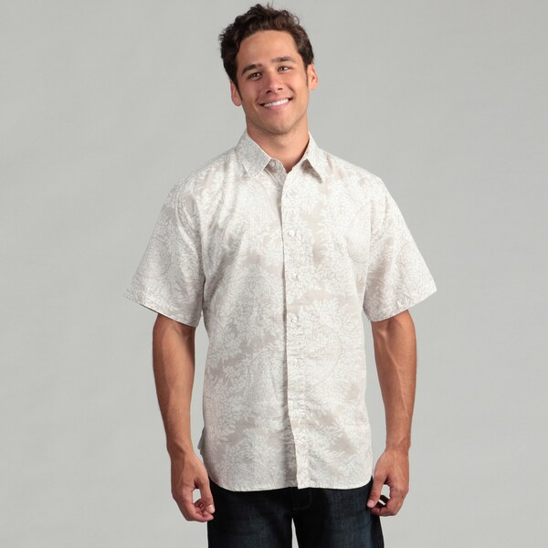 Natural Blue Men's Khaki Linen Paisley Shirt