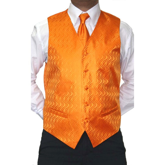 Ferrecci Men's Four-piece Orange Microfiber Vest Set