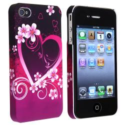 Dark Purple Heart with Flower Case for Apple iPhone 4/ 4S