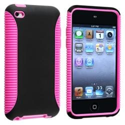 Hot Pink/ Black Hybrid Case for Apple iPod Touch 4th Generation
