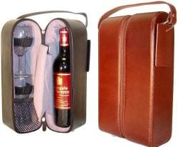 Amerileather Top Grain Cowhide Leather Double Wine Tote (2 Colors)