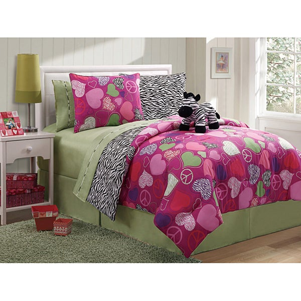 Reversible Zebra 3-piece Twin-Size Comforter Set