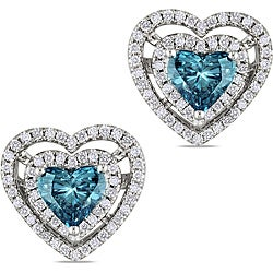 Miadora 14k Gold 1 1/2ct TDW Blue and White Diamond Heart Earrings (G-H, SI1)