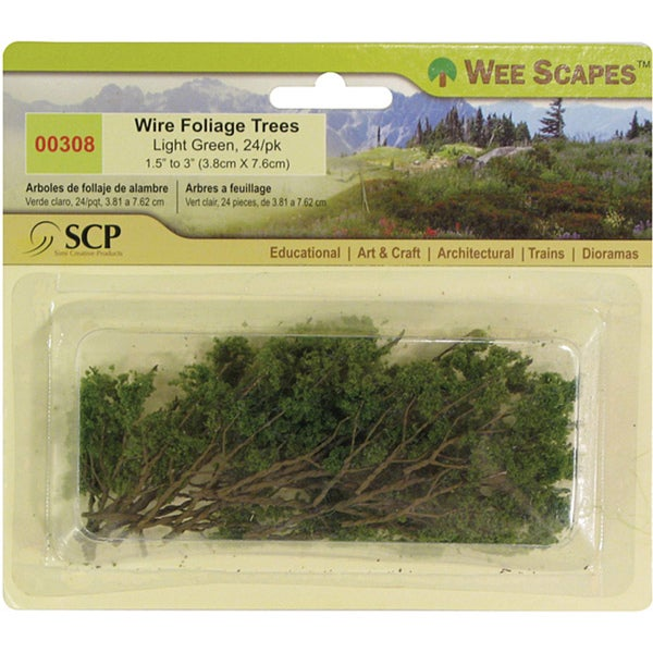 Light Green Wire Foliage Trees (Pack of 24)