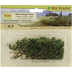Miniature Medium-green Plastic and Wire Foliage Trees (Pack of 24)