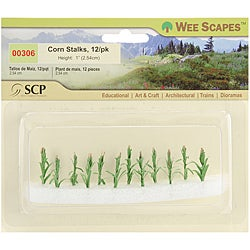 SCP Plastic Miniature One-inch Yellow/Green Corn Stalks (Pack of 12)