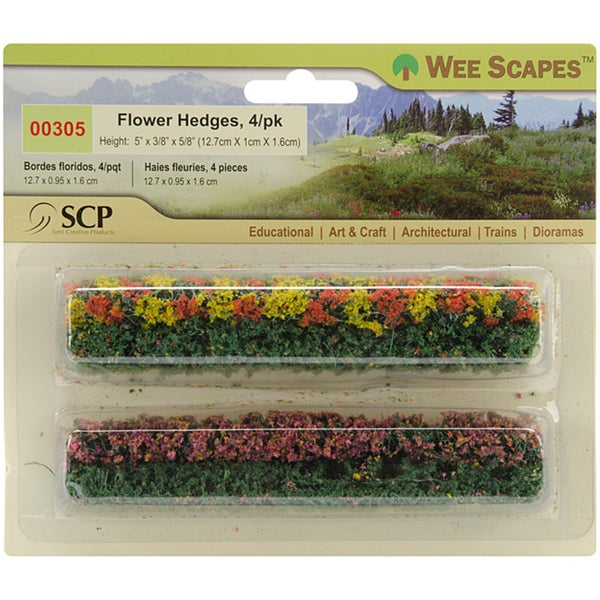 Green Blossom Blended Miniature Flower Hedges (Pack of 4)