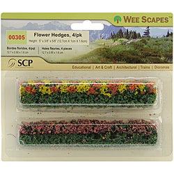 Green Blossom Blended Miniature Flower Hedges (Pack of 4)