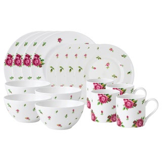 Royal Albert New Country Roses White Modern Casual 16-piece Dinnerware Set