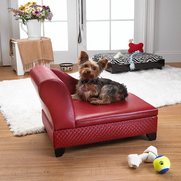 Enchanted Home Pet Red Pet Sofa Bed with Hidden Storage