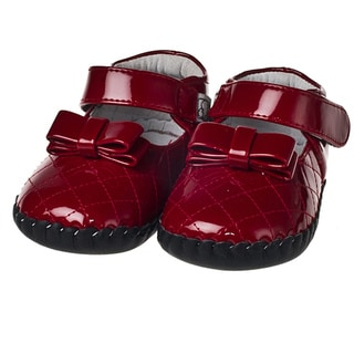 Little Blue Lamb Infant/ Toddler Hand-stitched Red Patent Leather Walking Shoes