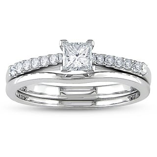 Miadora 14k White 1/2ct TDW Diamond Bridal Ring Set (H-I, I1-I2)