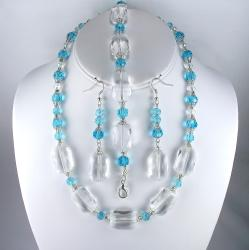 Silverplated Turquoise and Clear Crystal Wedding Jewelry Set