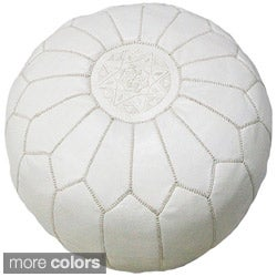 Moroccan Contemporary Leather Ottoman (Morocco)