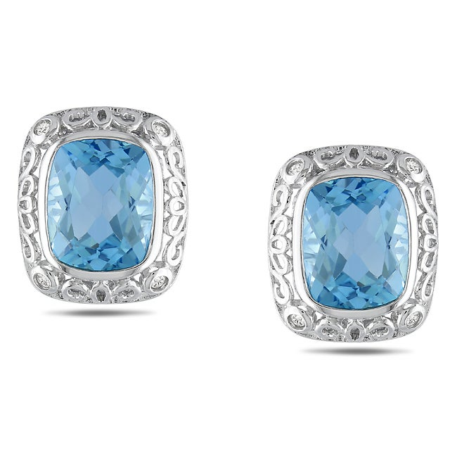 Miadora Sterling Silver Blue Topaz and 1/8ct TDW Diamond Earrings (H-I, I2-I3)