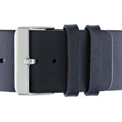 Miadora Stainless Steel Colored Epoxy Black Genuine Leather 7-inch Bracelet