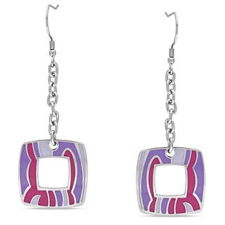 M by Miadora Stainless Steel Colored Epoxy Dangle Earrings