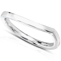 Annello 14k White Gold Contoured Wedding Band